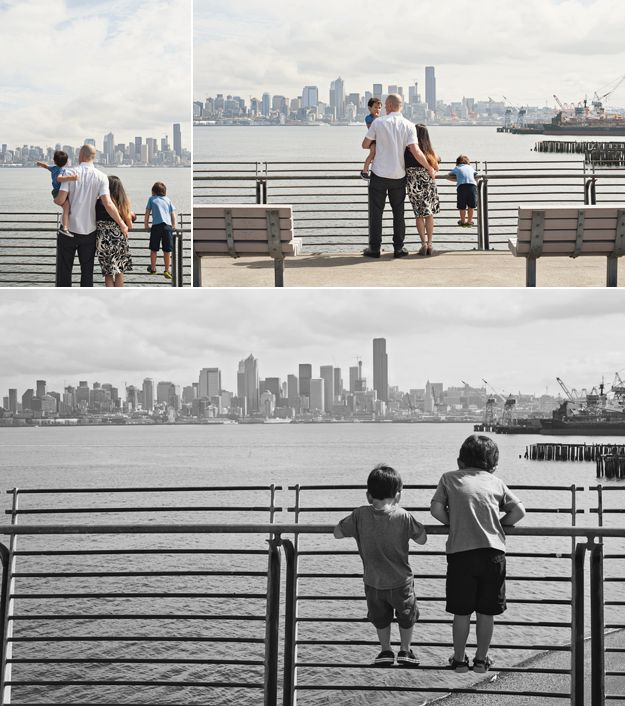 Seattle skyline. Family portraits by I CANDI Studios.
